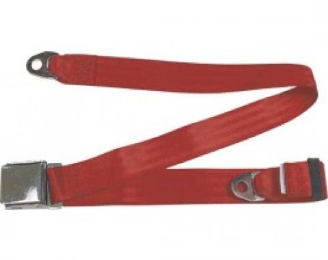 """Seatbelt Solutions 1949-1979 Ford   Mercury, Lap Belt, 74"""" with Chrome Lift Latch 1800602006   Flame Red"""