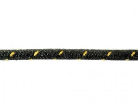 Bulk Wire, #16 Cloth Covered Primary Wire, Black With Yellow Tracer, Sold By The Foot