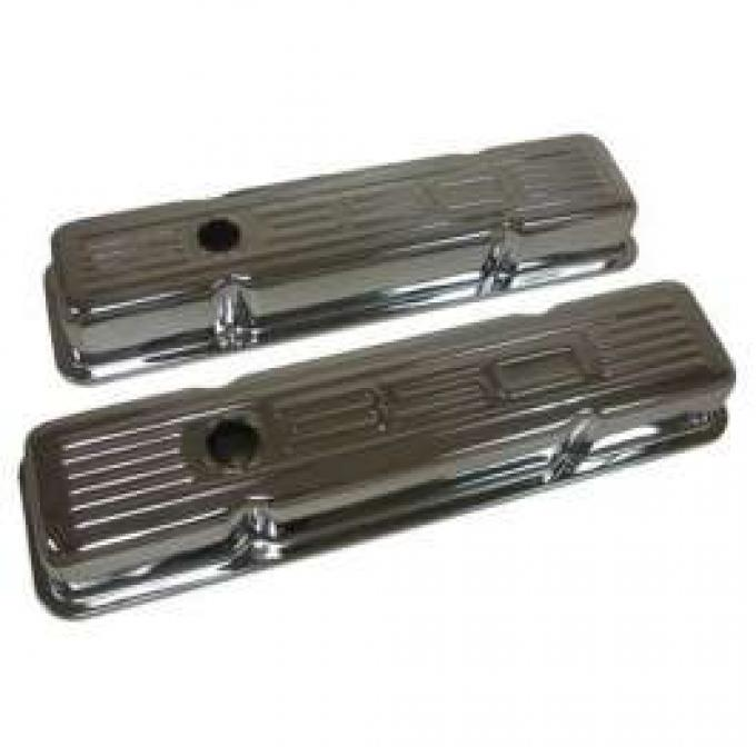 Chevy Small Block Chrome Valve Covers With 350 Logo, Tall, 1958-1986