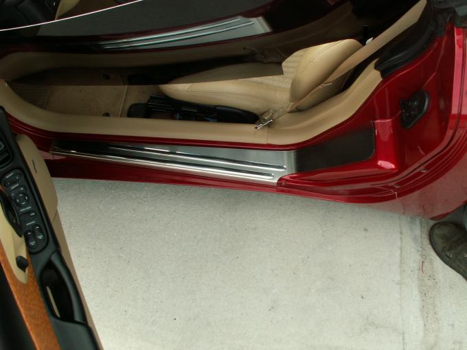 American Car Craft Doorsills Outer Satin w/Chrome Ribs 2pc 031016