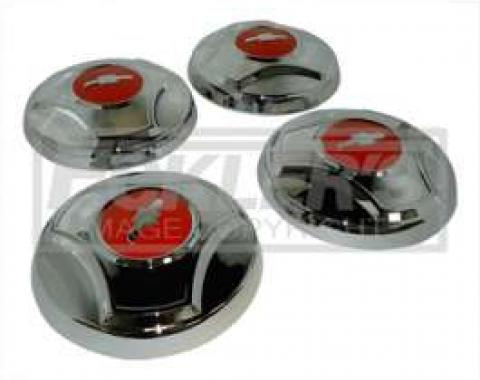 Chevy Truck Hub Cap Set, Chrome, With Orange Painted Details, 1964-1966