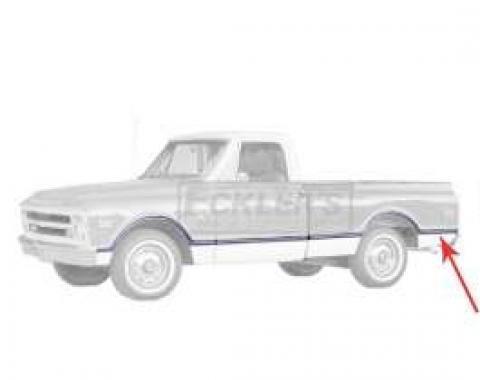 Chevy Or GMC Truck, Bedside Rear Molding, Fleetside, Shortbed, Left, 1967-1968
