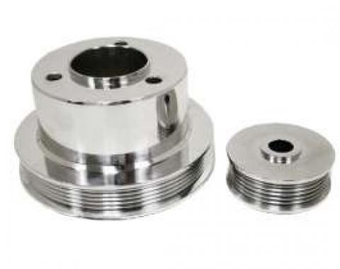 Chevy Truck Serpentine Pulley Set, Polished Aluminum, 1988-1993