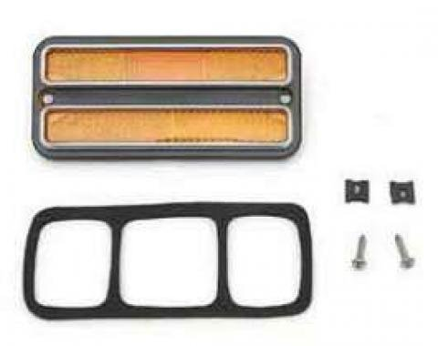 Chevy Or GMC Truck Front Side Marker Light, Amber, With Chrome Bezel, 1968-1972