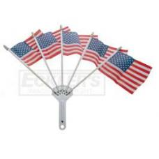 Chevy & GMC Truck Chrome Flag Holder, With Five American Flags, 1947-2014