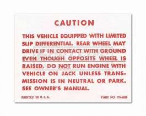 Chevy Or GMC Truck Positraction Warning Decal, 1957-1971