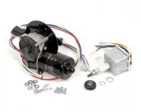 Chevy & GMC Truck Electric Wiper Motor, Replacement, With Delay Switch And Flat Mount, 1960-1966
