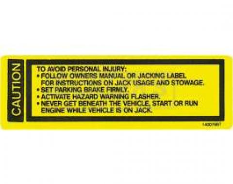 Chevy Or GMC Jack Base Decal, 1973-1979