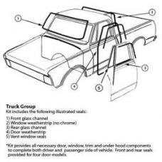Chevy Or GMC Truck, Complete Weatherstrip Kit, Custom, For Trucks With Black Window Moldings, 1973-1980