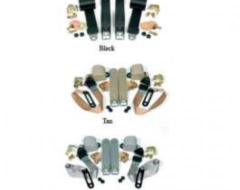 Chevy & GMC Truck Seat Belt Kit, Three Point, For Bucket Seats, With Retractors, Gunmetal, 1968-1987