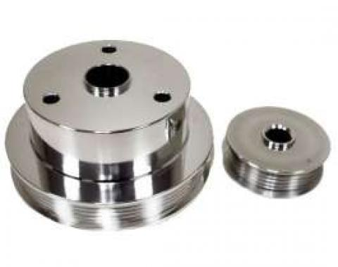 Chevy Truck Serpentine Pulley Set, Polished Aluminum, 1988-1994
