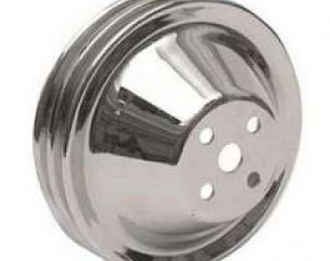 Chevy Truck Chrome Water Pump Pulley, Double Groove Short, 1955-1972