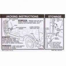 Chevy Or GMC Jacking Instructions Decal, 1968-1972