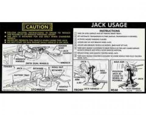 Chevy Or GMC Jacking Instructions Decal, With Control Arm Hook Style Jack, 1976-1977