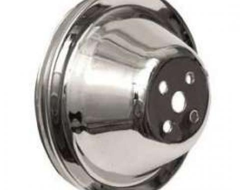 Chevy Truck Short Water Pump Pulley, Single Groove, Chrome,1955-1972