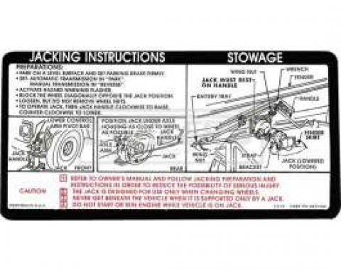 Chevy Or GMC Jacking Instructions Decal, 1973