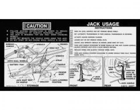 Chevy Or GMC Jacking Instructions Decal, With Standard Style Jack, 1974-1977
