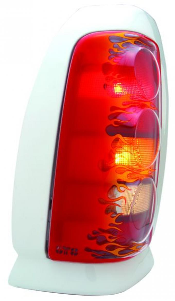 GT Styling 970686, Tail Light Cover, Pro-Beam (TM), Solid, Flames, Plastic, Set Of 2