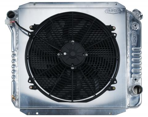 Cold Case Radiators 66-77 Ford Bronco Aluminum Performance Radiator And 16 Inch Fan Kit FOT574AK