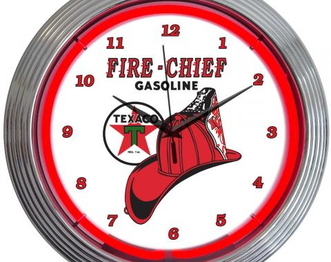 Neonetics Neon Clocks, Texaco Fire Chief Neon Clock