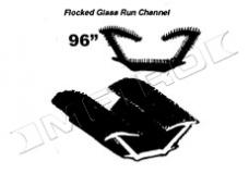 """Flocked Glass Run Channel, for Models with Framed Side Glass, 96"""" Piece, 1965-1967"""