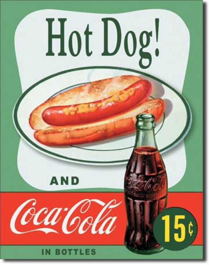 Tin Sign, COKE Hot Dog
