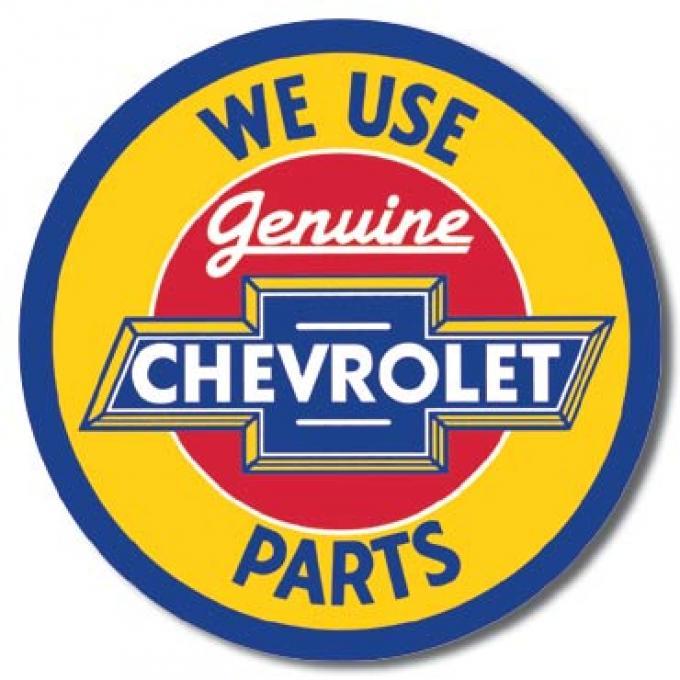 Tin Sign, Chevy Round Geniune Parts