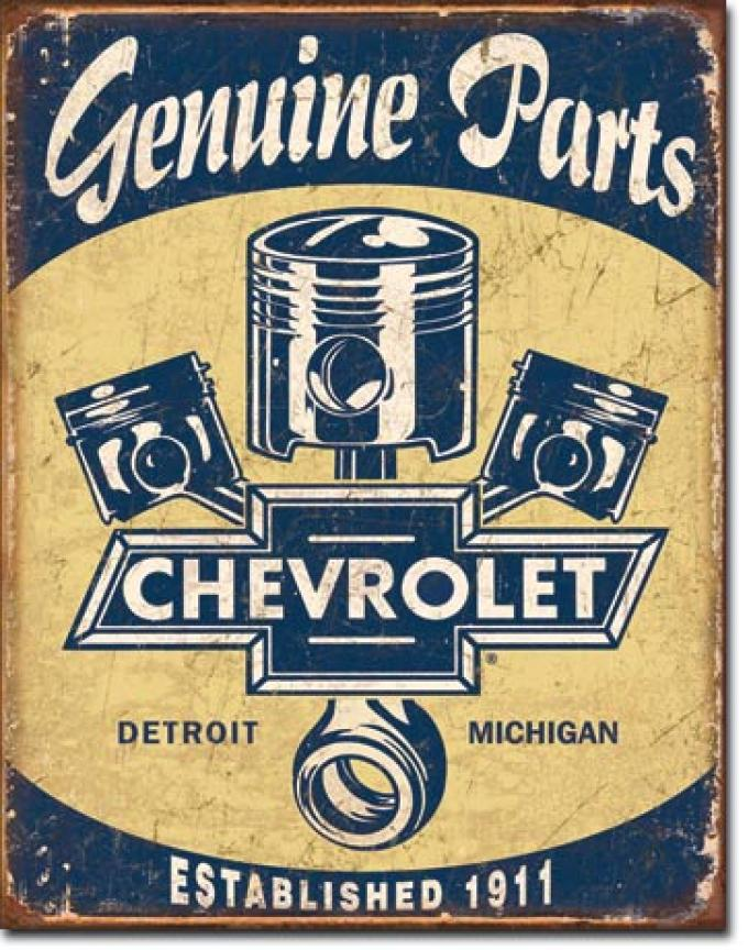 Tin Sign, Chevy Parts - Pistons