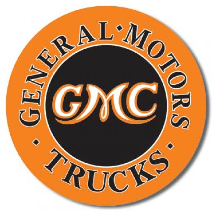 Tin Sign, GMC Trucks Round