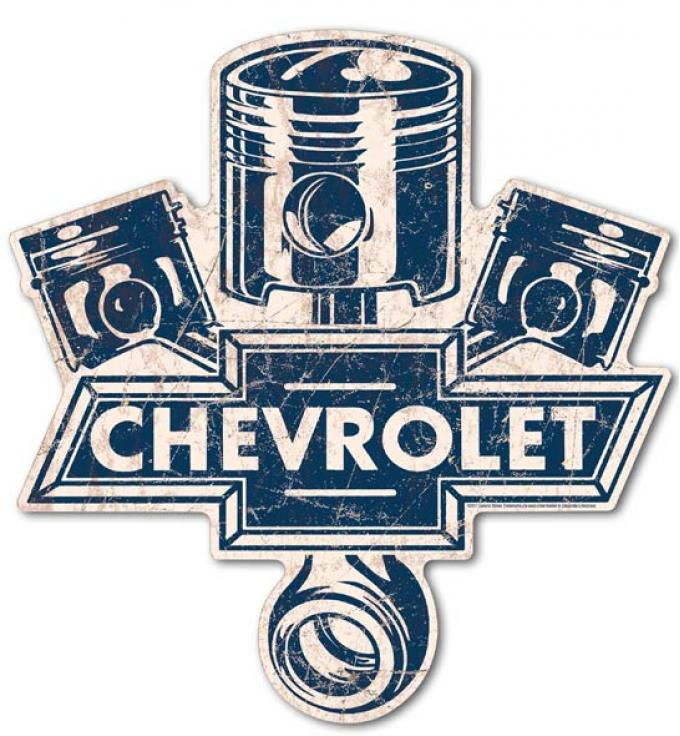 Premium Tin Sign, Chevy Pistons Die Cut