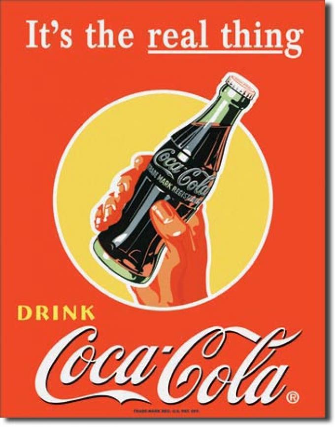 Tin Sign, COKE Real Thing - Bottle