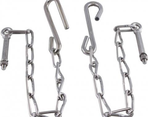 Chevy Truck Tailgate Chains, Polished Stainless Steel, Step Side, 1954-1987