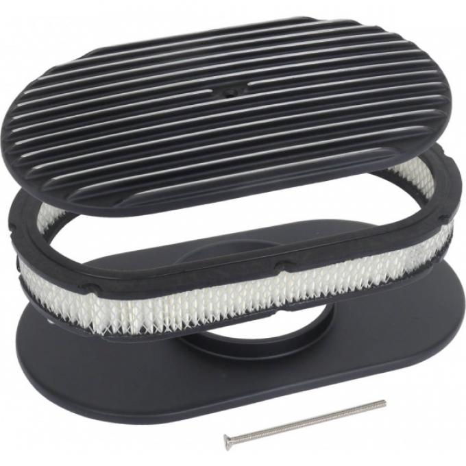 Finned Aluminum Air Cleaner, 15'' Oval With Black Finish, 1932-1985