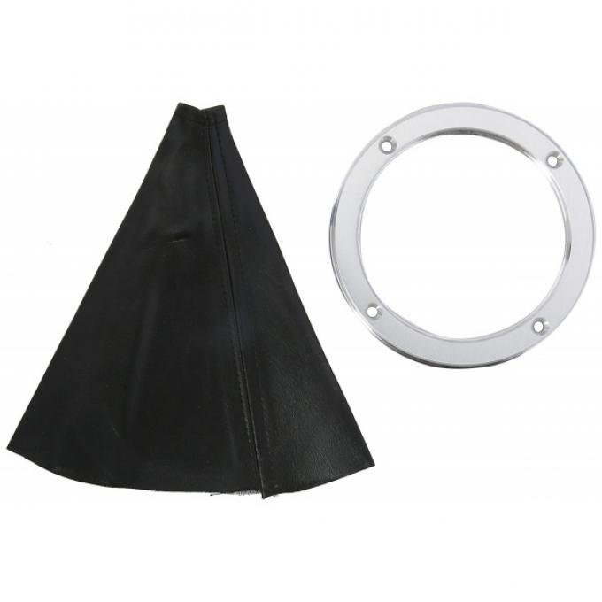 Billet Aluminum Round Shifter Boot Ring, Satin Finish, With Boot, Lokar