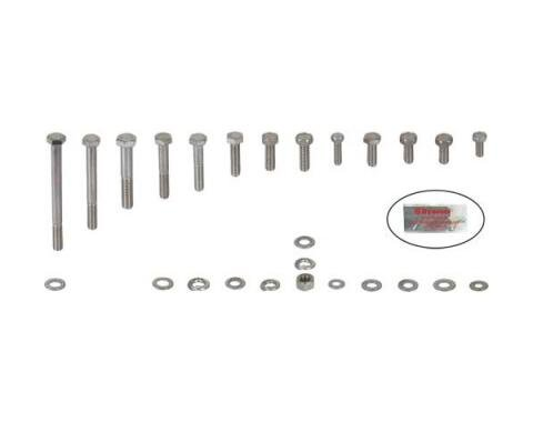 Ford Pickup Truck Engine Hardware Kit - Original Style - Stainless Steel - 351M V8 With Cast Valve Covers