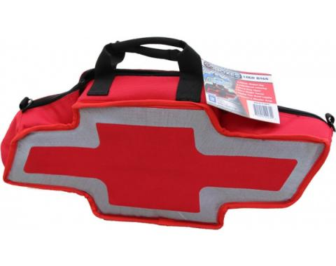 Chevy Bowtie Shaped Canvas Bag, Red & Silver