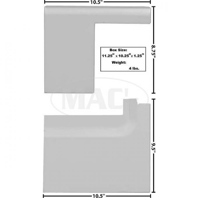 Bed Floor Extension, LH, 2 Piece Set, Weld-Thru Primer, 1967-1977 Bronco