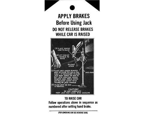 Jack Instruction Tag - Ford Passenger