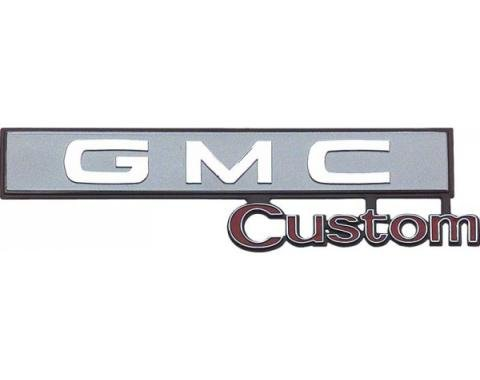 "GMC Truck Glove Box Emblem, ""Custom GMC"" 1969-1972"