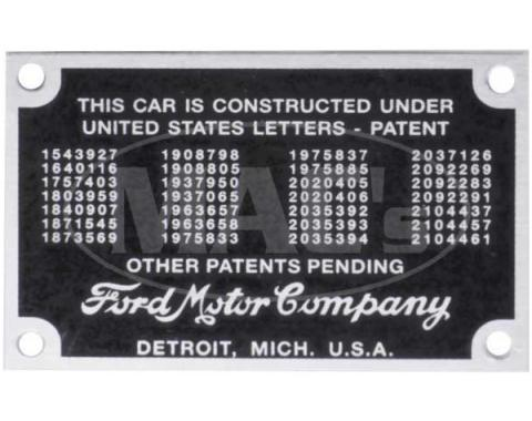Patent Plate - With Rivets - Ford