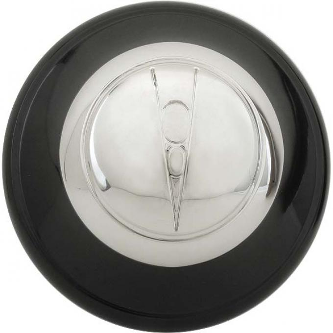 Hub Cap - V8 Embossed - Black With Stainless Steel Center -11-3/4 - Ford Passenger