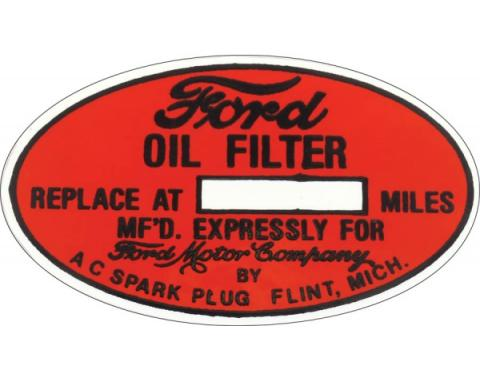 Oil Filter Decal - A/C Oil Filter - Ford