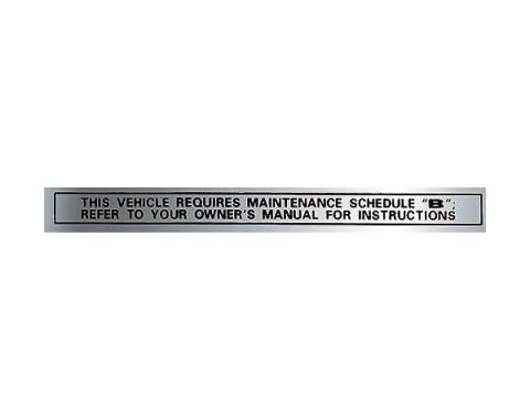 Ford Pickup Truck Glove Box Maintenance Schedule, B Decal