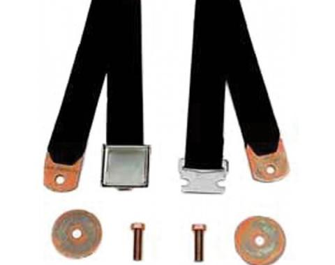 Chevy Or GMC Truck Seat Belt, Aircraft Latch Style, Black, 1947-1972