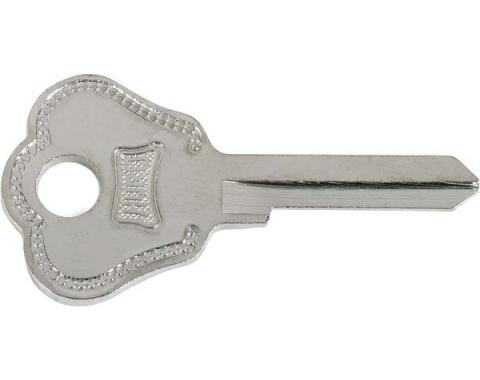 Trunk Handle Key Blank - Embossed Hurd - 1932-48 Ford TrunkLid Handle - 1935-48 Ford Glove Box - 1932-48 Ford Spare Tire Lock