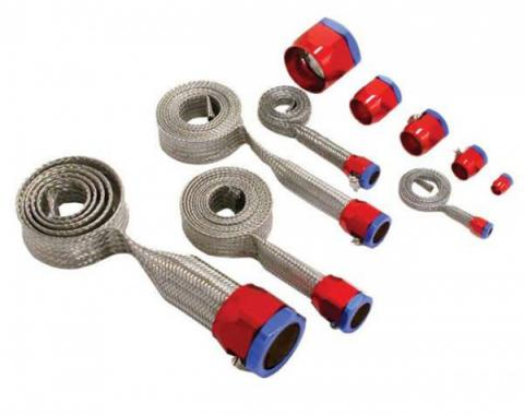 Chevy Hose Cover Kit, Universal, Stainless Steel, With Red & Blue Clamps