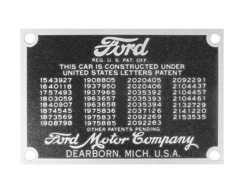 Patent Plate - With Rivets - Ford Commercial Truck