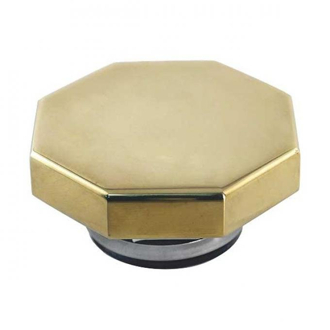 Radiator Cap - Hex Shaped - 7 Pounds Pressure - Brass - Street Rod Style