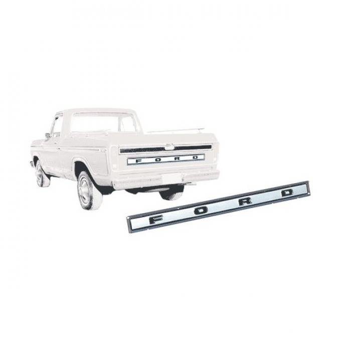 Ford Pickup Truck Tailgate Finish Panel - Center - Bright Anodized Finish With Correct Semi-Gloss Black Painted Details- With FORD Lettering - F100 T