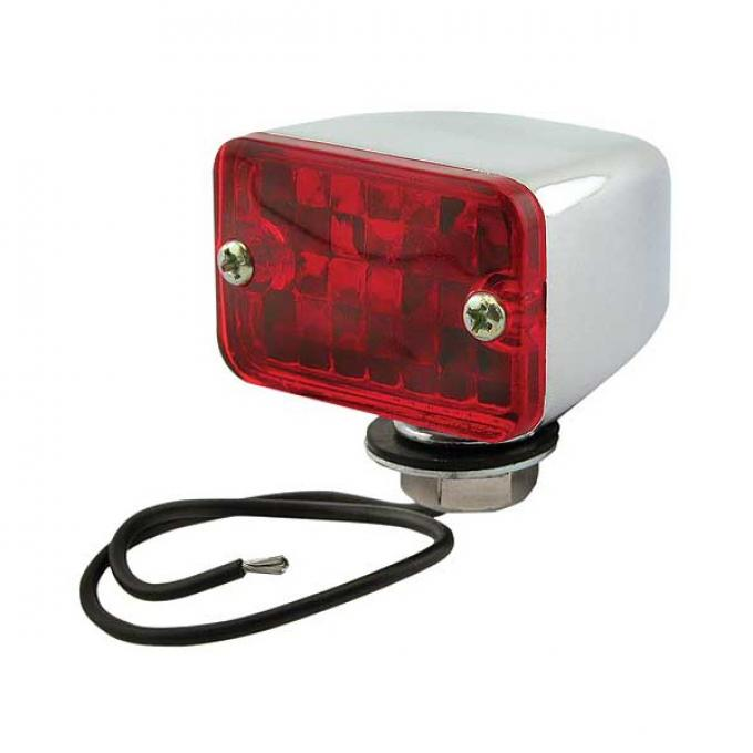 Utility Light - 12 Volt - Chrome Light With Red Lens - 1-3/4